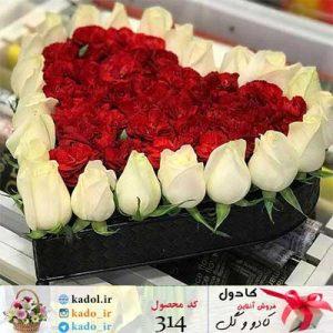 باکس گل رز قلب
